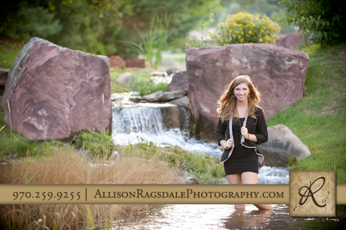 durango senior girl picture standing in creek