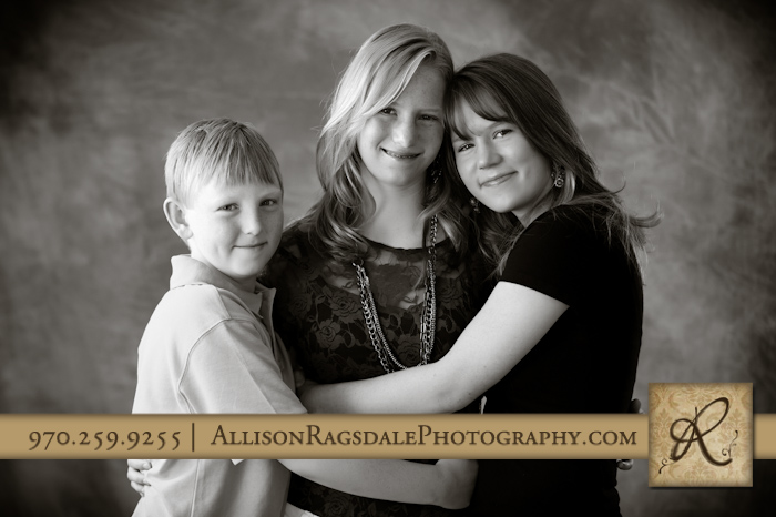 black and white sibling portrait in durango photography studio