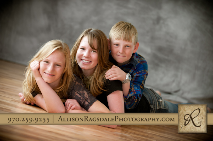dog pile sibling picture in durango portrait studio