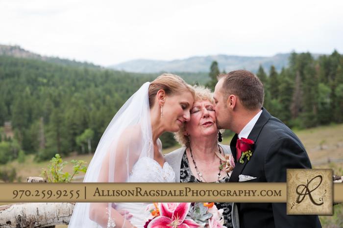 groom and his bride kissing grandmother thunder ridge durango co
