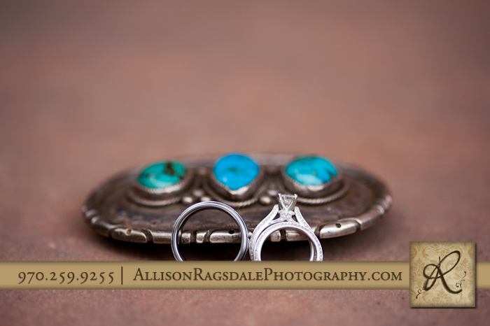 grandpas belt buckle and wedding rings at blue lake ranch durango co