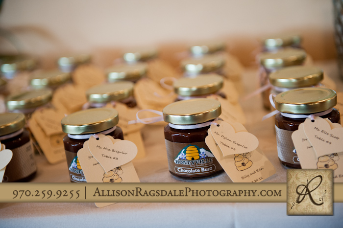 honeyville favors for wedding reception at blue lake ranch
