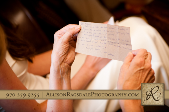 handwritten note from groom to mother of bride in silverton wedding