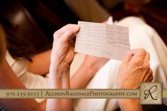 handwritten note from groom to mother of bride in silverton wedding
