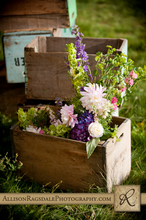 aprils garden flowers in rustic wood boxes wedding reception kendalll mountain silverton co