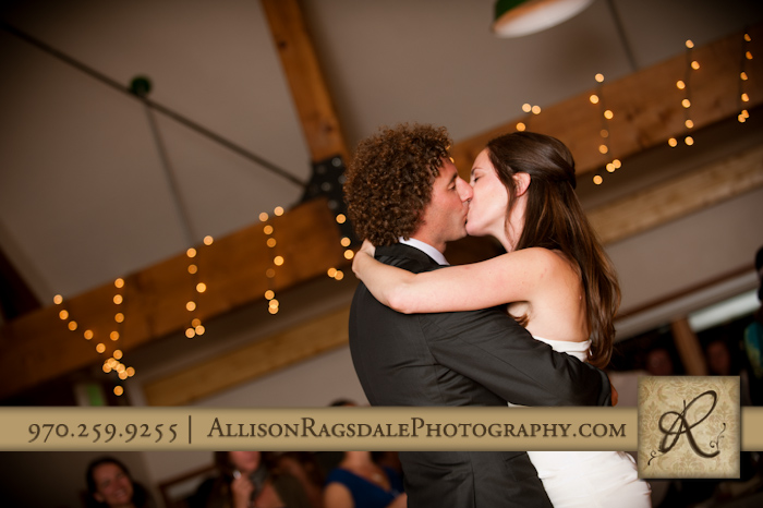 bride and groom first dance wedding reception kendall mountain silverton co