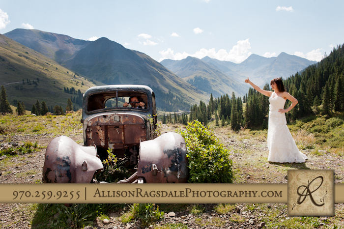 bride hitchhiking animas forks silverton picture