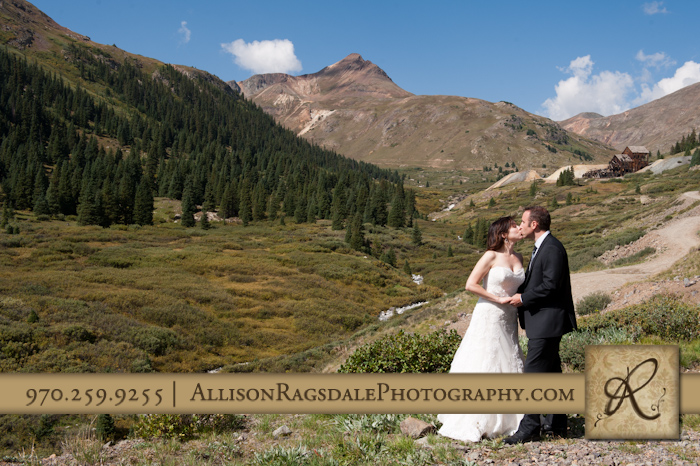bride and groom in animas forks above silverton co