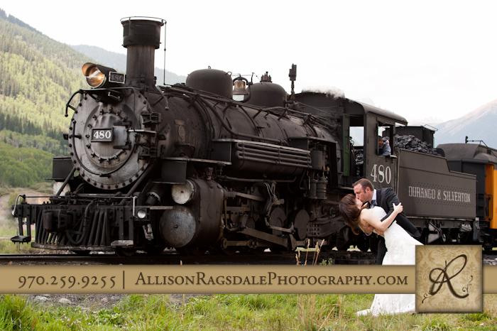 durango silverton train bride and groom kissing
