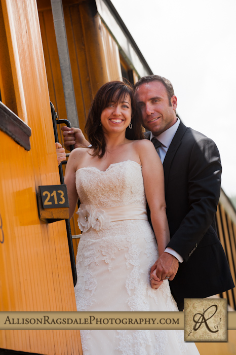 bride and groom riding train silverton colorado