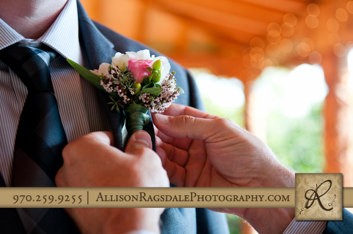 boutonniere for wedding at blue lake ranch durango co
