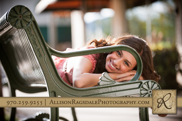 Green Bench Senior Picture Durango, Colorado