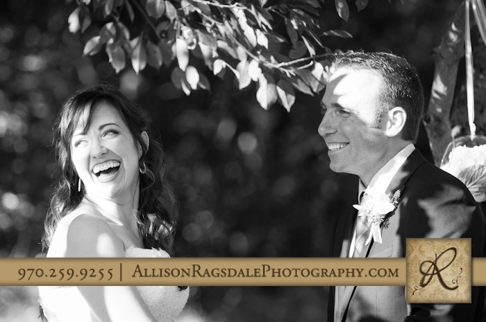 bride and groom laughing wedding ceremony durango blue lake ranch