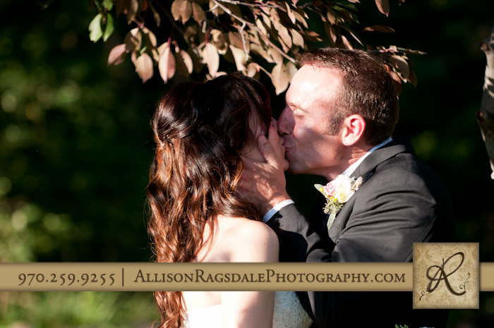 first kiss wedding ceremony durango blue lake ranch
