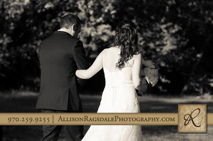 newlyweds walking away durango blue lake ranch colorado