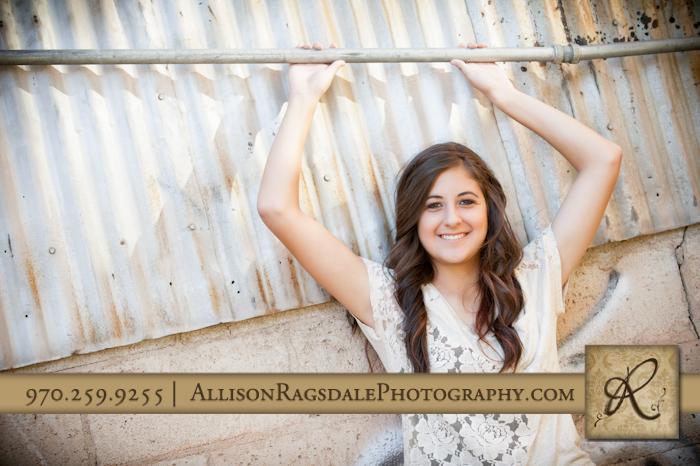 downtown durango senior photo girl on aluminum