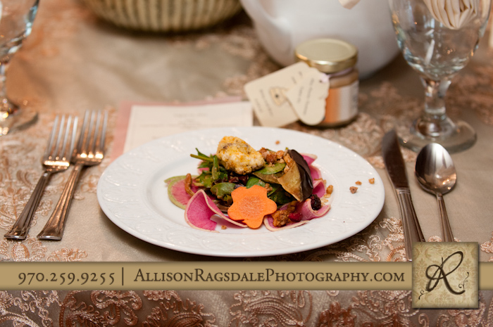 the yellow carrot salad plate for wedding reception at blue lake ranch durango