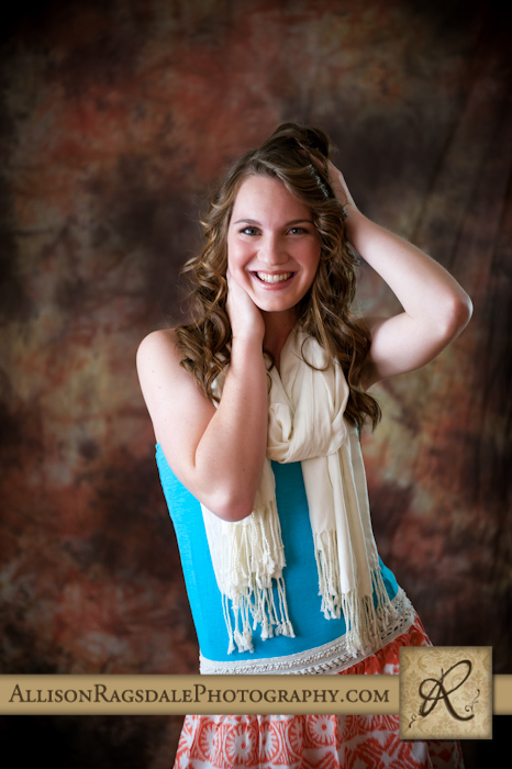 Girl senior photo with scarf