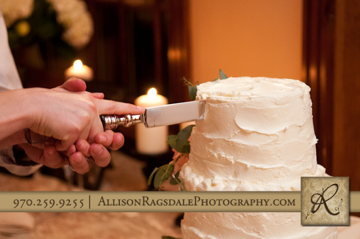cake cutting at blue lake ranch wedding reception by the yellow carrot