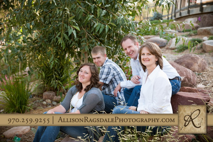 Family photo by rocks
