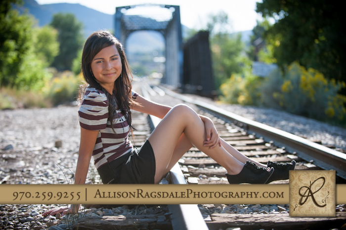 Girl senior pic on railroad tracks