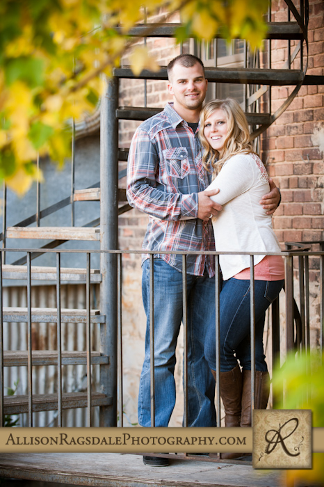 engaged couple portrait spiral staircase durango downtown