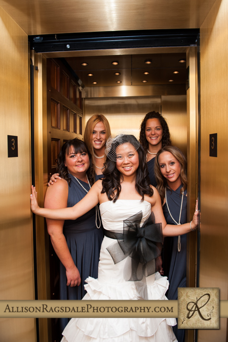 bridal party in elevator beaumont hotel ouray co wedding photo