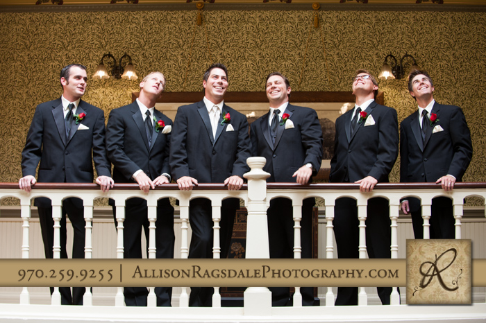 groom and groomsmen beaumont hotel ouray co wedding photo