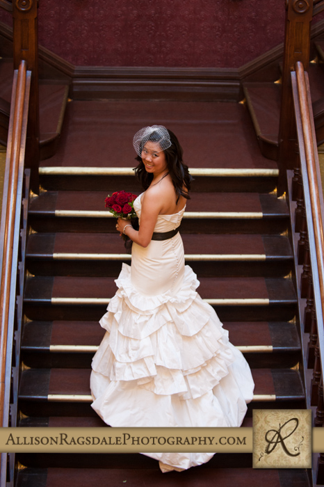 bride on staircase beaumont hotel ouray co wedding photo
