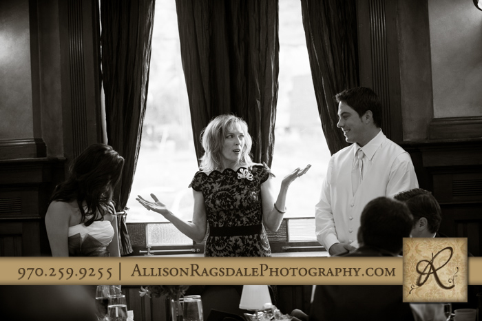 mother of bride giving toast beaumont hotel ouray co wedding photo