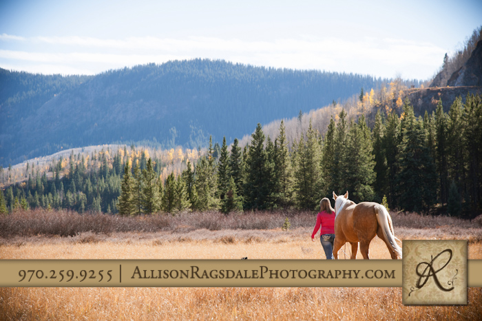 girl walking with horse and dog in field durango mountains picture