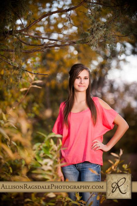Girl standing in forest senior photo