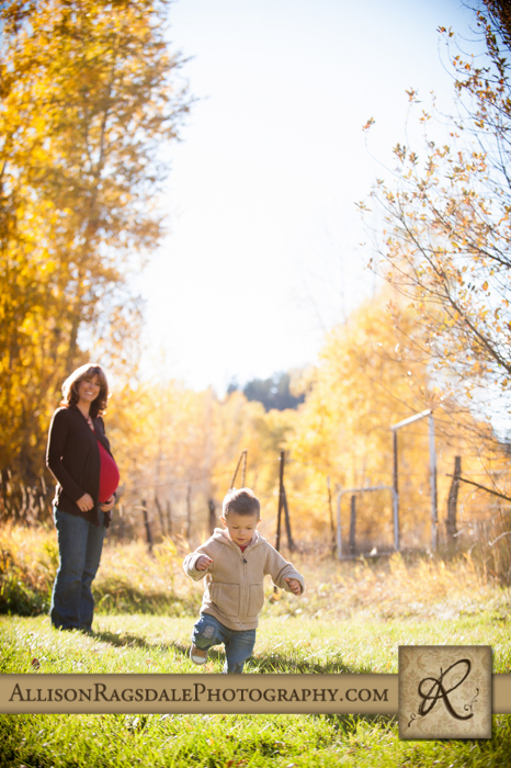 pregnancy portrait mom with big brother fall colors durango