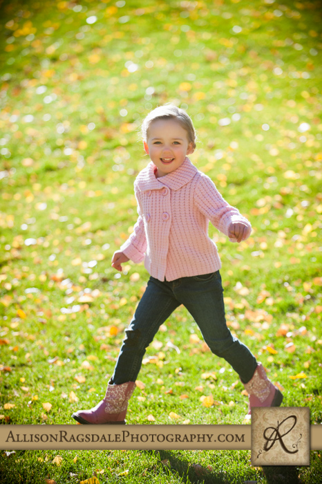 little girl running through leaves picture durango co
