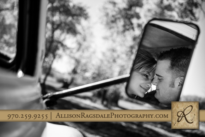 reflection in mirror of fire truck engagement picture mancos co
