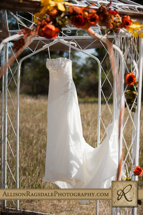 brides dress hanging from gazebo for wedding in mancos colorado in fall