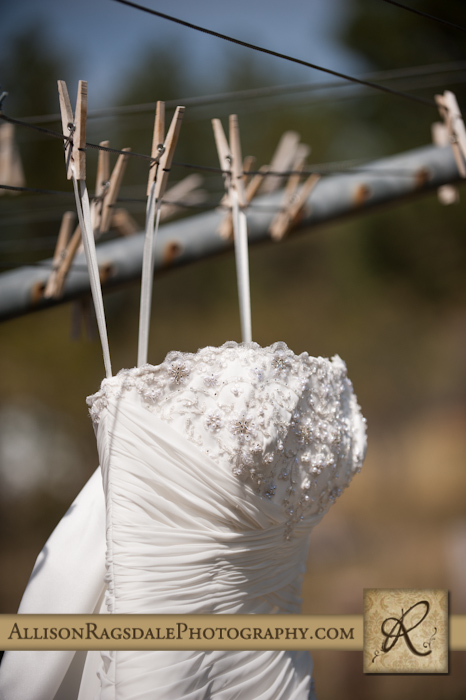 bride's wedding dress on clothesline mancos colorado