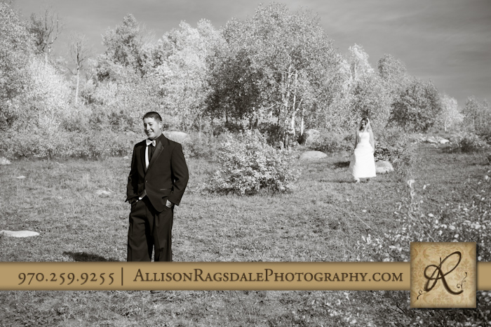 groom and bride first look picture mancos co