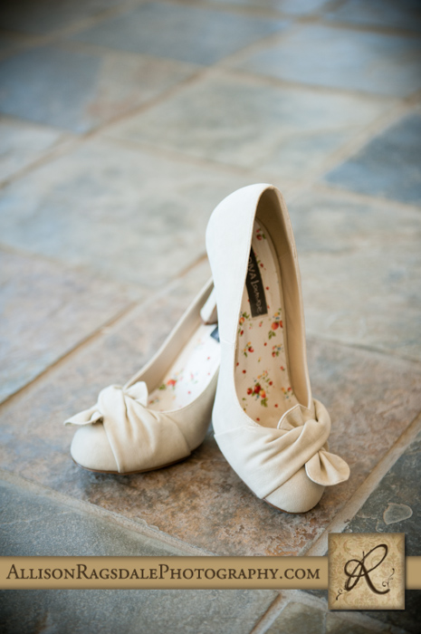 brides shoes on tile floor in spa at silverpick lodge durango co