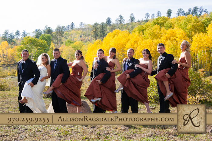 wedding party portrait fall aspen grove mancos