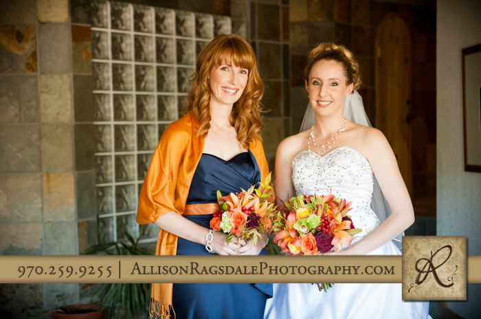 bride and sister in spa at silverpick lodge durango co for wedding