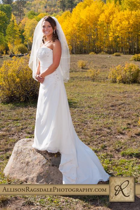 bride on rock aspen grove yellow fall colors mancos co
