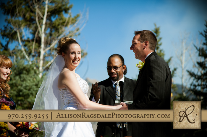 bride and groom laughing wedding ceremony durango boyce meadow