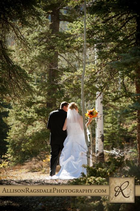 newlyweds walking away after boyce meadow ceremony durango co