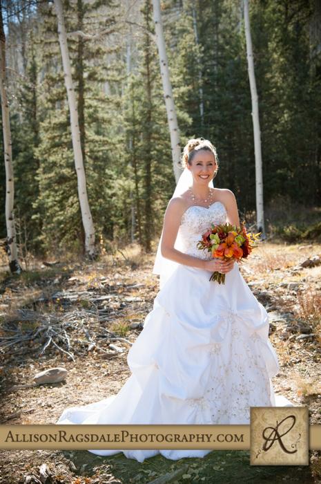 bride in the woods picture boyce meadow durango colorado