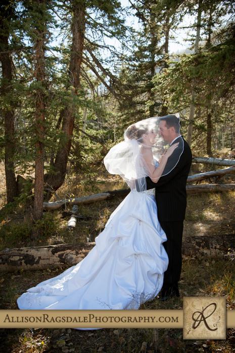 bride and groom under veil backlit boyce meadow durango co