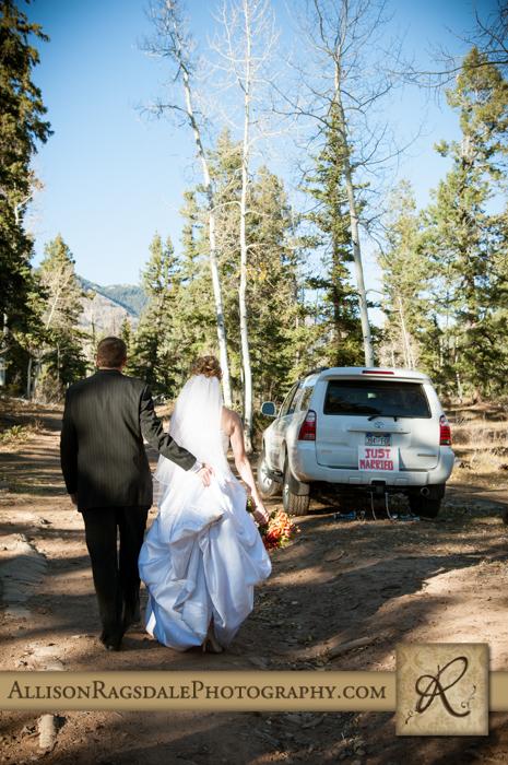 just married walking away boyce meadow durango co