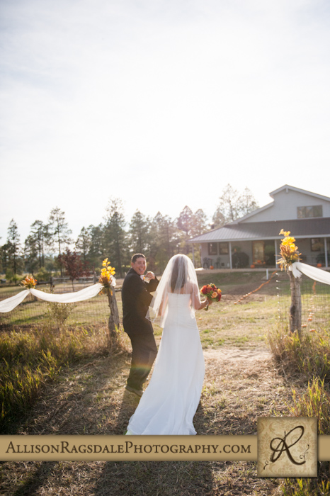 bride and groom walking back down aisle after mancos wedding ceremony