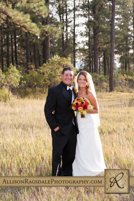bride and groom portrait pine trees mancos co