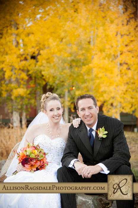 bride and groom in fall colors silverpick lodge durango co pic